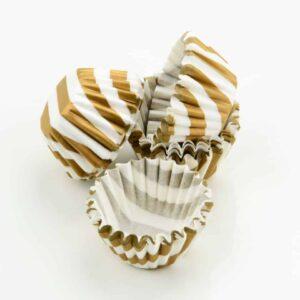Pralinenkapseln 25 mm weiß-gold 100 Stück V01