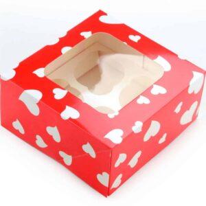 Cupcake Box Herzen für 4 Stück 2er Set V01