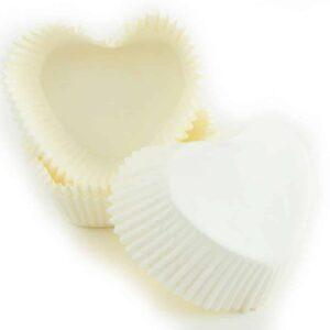 Muffinkapseln Herzform weiß 36 Stück V01