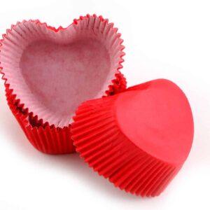 Muffinkapseln Herzform rot 36 Stück V01